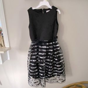 Beautiful Emily West black and silver formal dress girls size 10